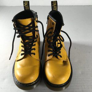 Doc Martin Junior Yellow Lace-Up Zip Up Boots